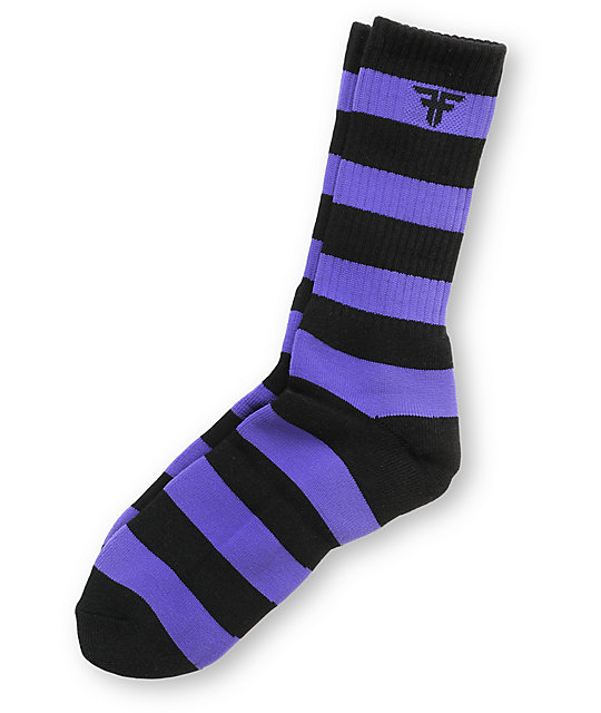 Fallen Trademark Black & Purple Striped Crew Socks