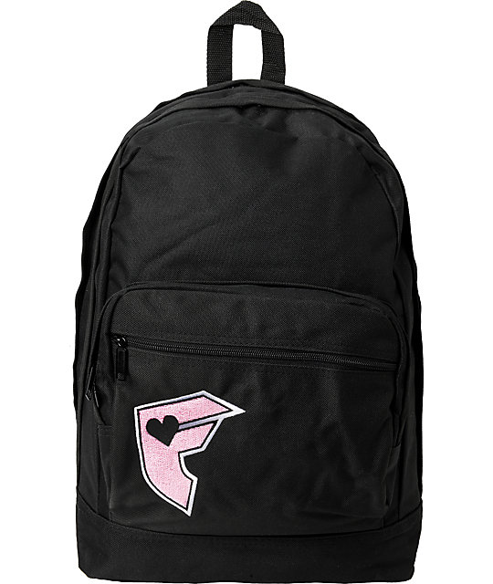 Famous Stars & Straps Pink Badge Black Backpack