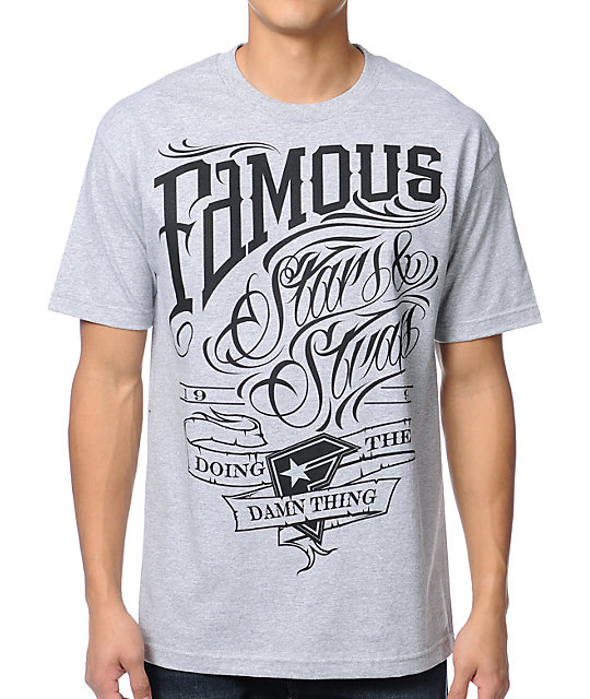 Famous Stars & Straps True Grit Heather Grey T-Shirt