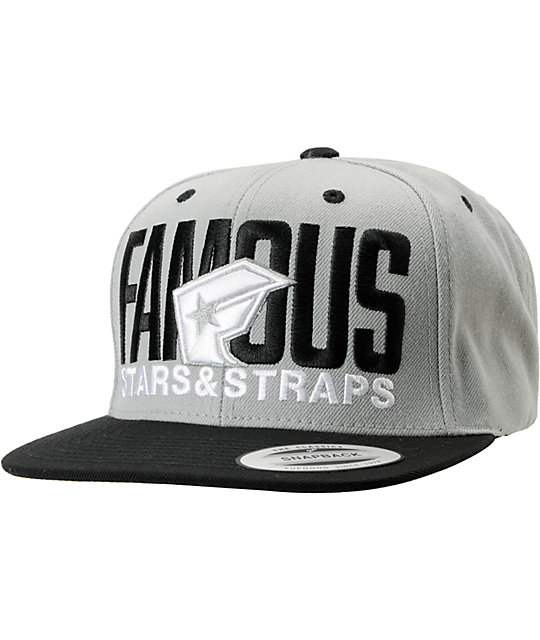 Famous Stars And Straps Blockout Grey And Black Snapback Hat