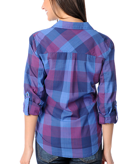 Fatal Charm Bombard Blue & Purple Buffalo Plaid Shirt