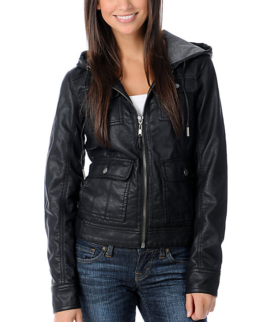 Fatal Charm Marne Black Faux Leather Hooded Jacket