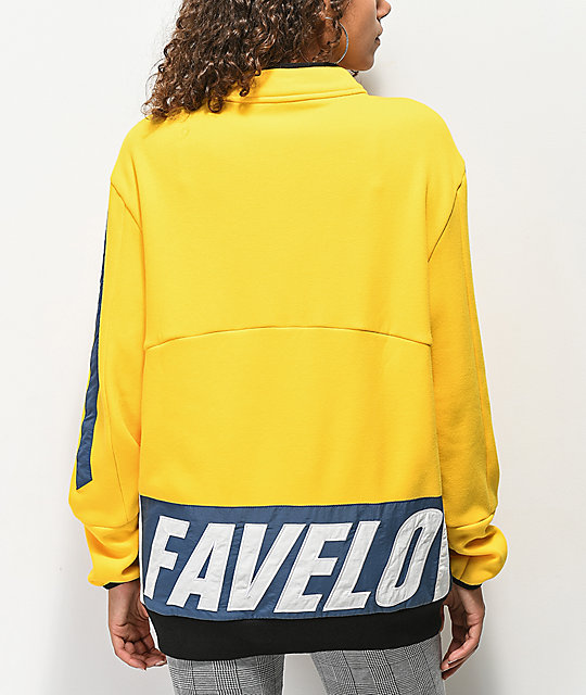 Favelo Yellow & Blue Quarter Zip Sweatshirt