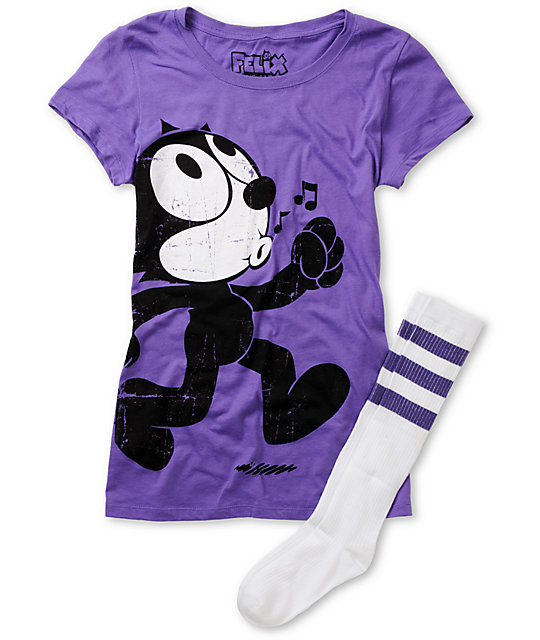 Felix The Cat Whistler Felix Purple T-Shirt & Sock Pack