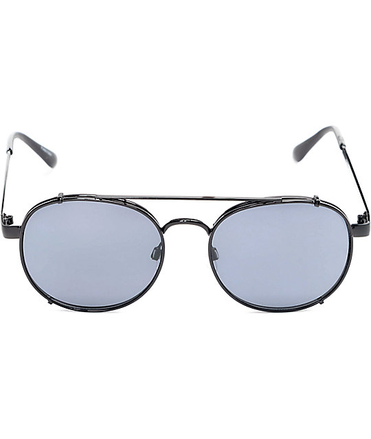 Fiasco Round Brow Bar Matte Black Sunglasses