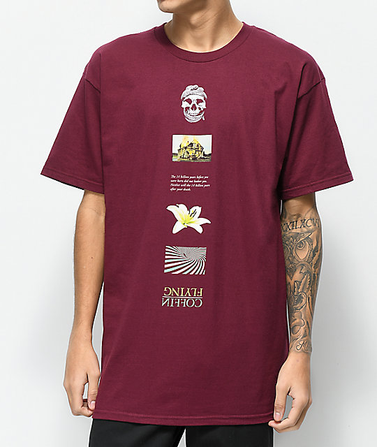 Flying Coffin Stack Burgundy T-Shirt