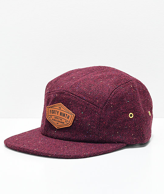 Forty Ninth Supply Co. Anderson Burgundy 5 Panel Strapback Hat