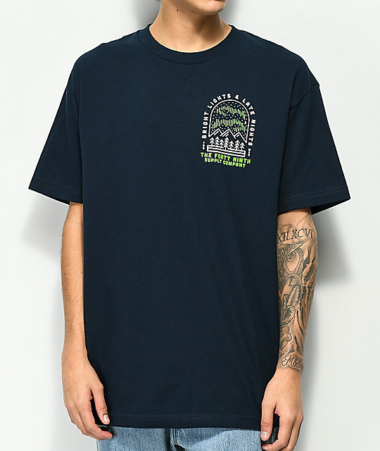 Forty Ninth Supply Co. Bright Lights camiseta en azul marino
