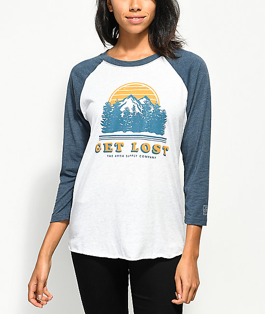 Forty Ninth Supply Co. Get Lost Blue & Grey Baseball T-Shirt
