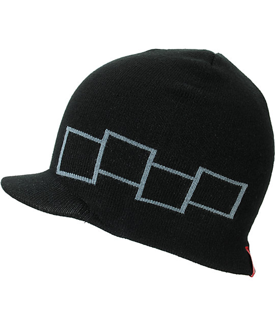 Four Square Icon Black Visor Beanie