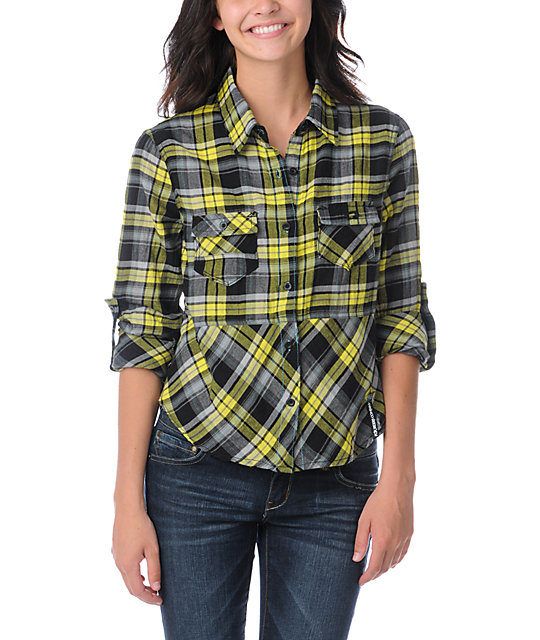 Fox After School Black & Yellow Plaid Shirt