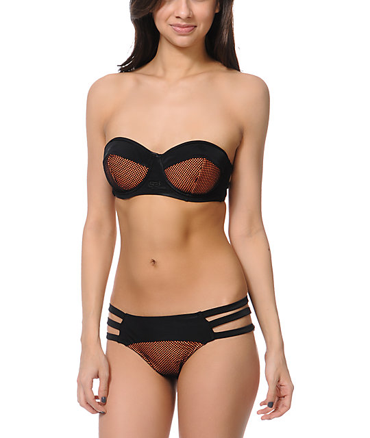 Fox Best Whip Black & Orange Underwire Bikini Top