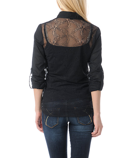 Fox Cut Class Black Lace Back Shirt