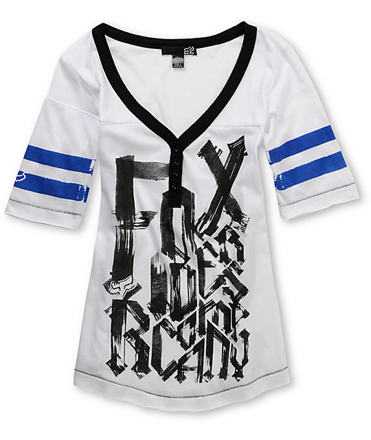 Fox Driven White V-Neck Football T-Shirt