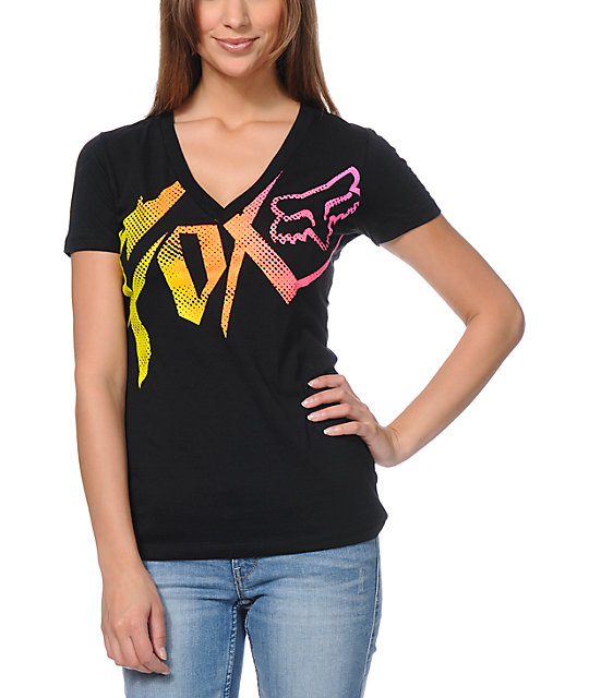 Fox Get Up Black V-Neck T-Shirt