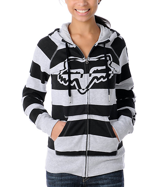 Fox Girl Talk Striped Black & Grey Hoodie