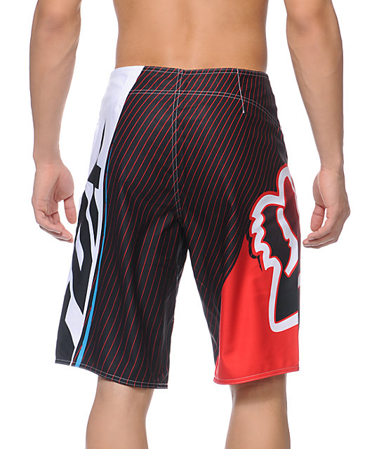 Fox In Flight Red White Black Board Shorts
