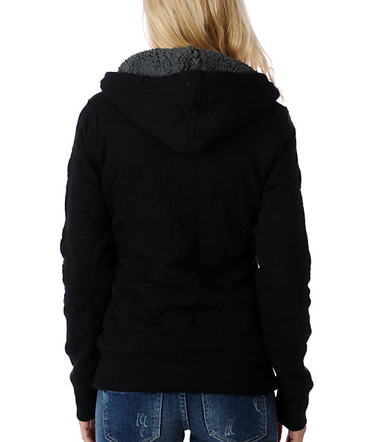 Fox Logger Quilted Black Zip Sweatshirt