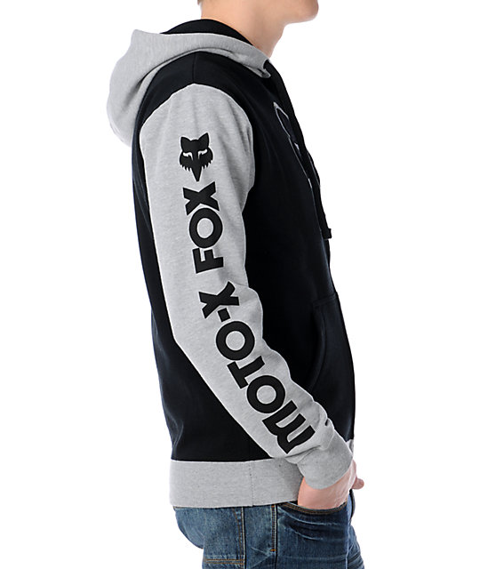 Fox Moto x Black & Grey Zip Up Hoodie