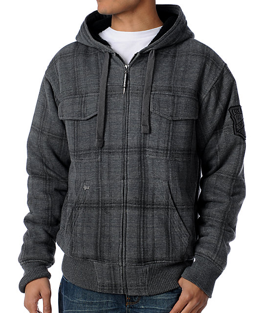 Fox Sawyer Charcoal Plaid Sherpa Hoodie