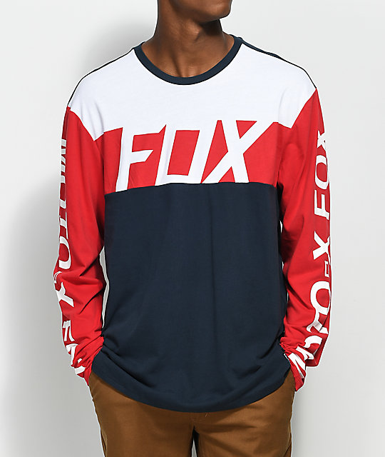 Fox scramblur red white blue long sleeve shirt zumiez for Blue and white long sleeve shirt