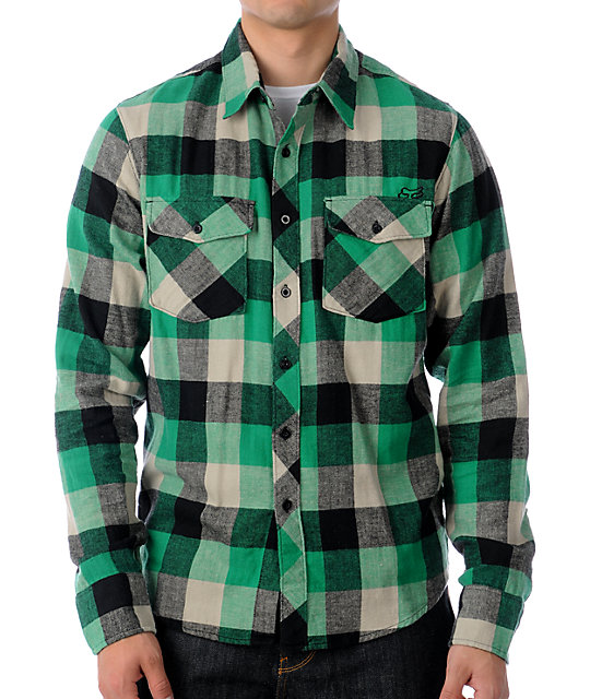 Fox Skeptic Green Flannel Shirt