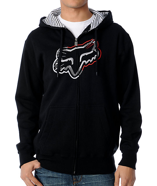 Fox Spiked Black Zip Up Hoodie