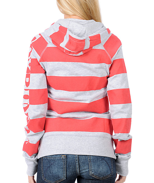 Fox Talk Rio Red & Grey Striped Zip Up Hoodie