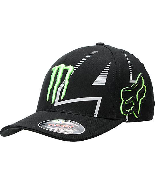 Fox x Monster Replica RC Black FlexFit Hat  d37bb28a724
