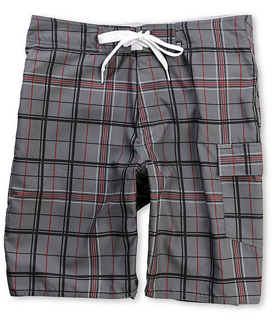 Free World Banks Grey Plaid Board Shorts