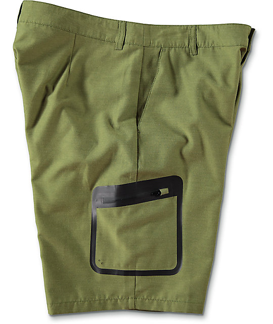 Free World Barrel Heather Olive Tech Hybrid Shorts