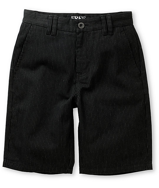Free World Boys Division Black Pinstripe Walking Shorts