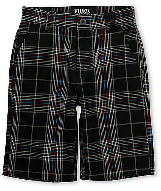 Free World Boys Gunboat Black & Blue Plaid Shorts
