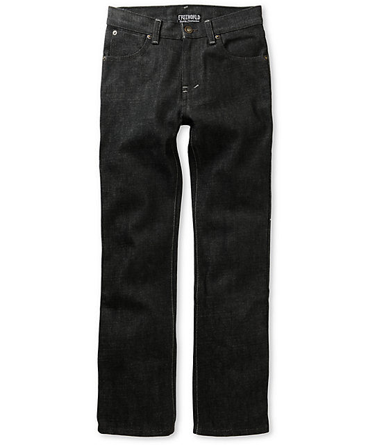 Free World Boys Messenger Raw Black Skinny Jeans