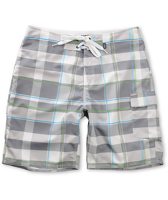 Free World Brody White Plaid Board Shorts