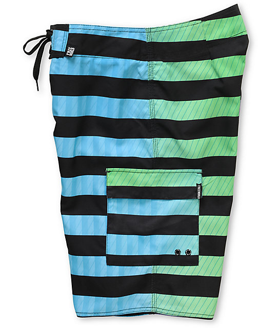 Free World Can Opener Black & Blue Stripe 21.25 Board Shorts