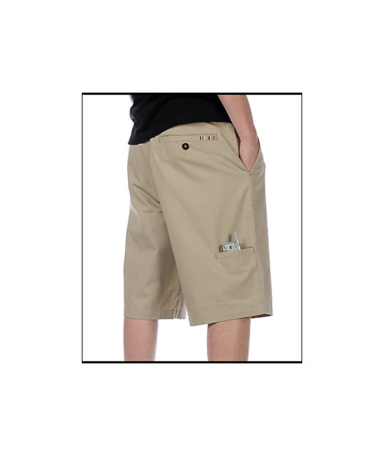Free World Chino Flat Front Khaki Shorts