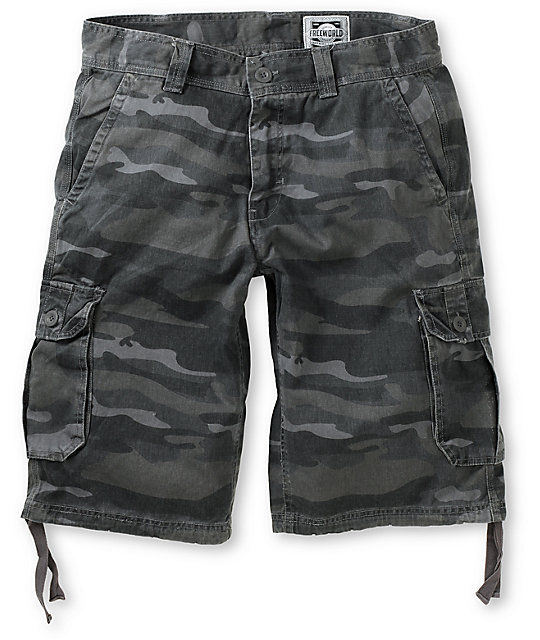 Free World Debacle Black Camo Twill Cargo Shorts