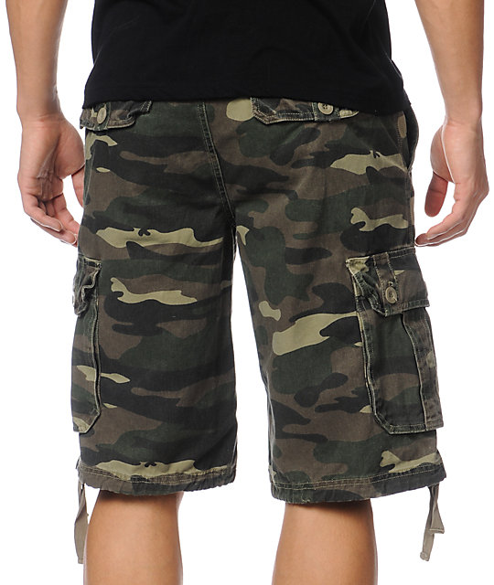 Free World Debacle Camo Cargo Twill Shorts