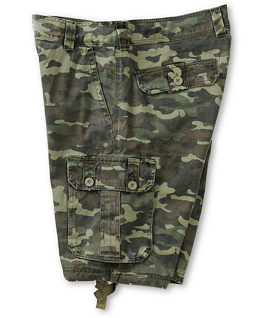 Free World Debacle Olive Bubble Camo Cargo Shorts