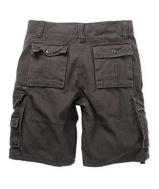 Free World Deluxe Army Grey Cargo Shorts