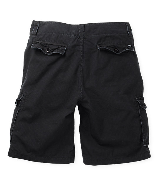 Free World Dual Ripstop Black Cargo Shorts