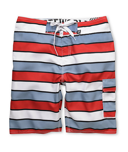 Free World Eventide Red & Grey 21.25 Board Shorts