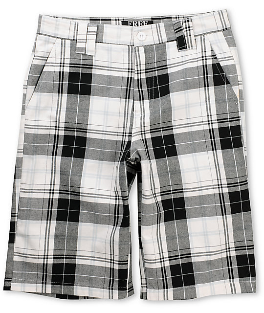 Free World Falcon White Plaid Shorts