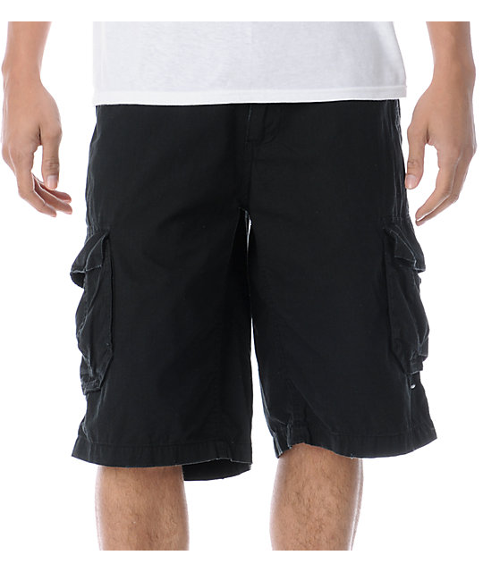 Free World Fink Black Ripstop Cargo Shorts