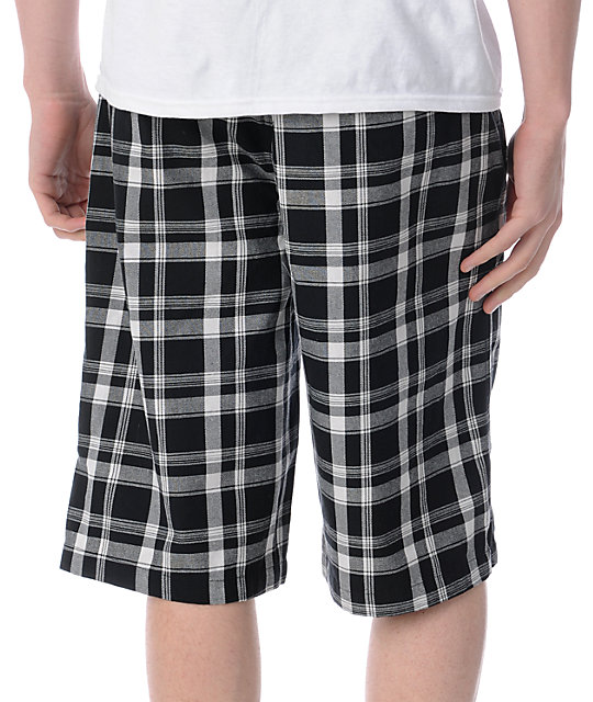 Free World Flint Black Plaid Shorts
