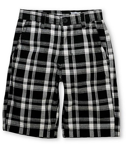 Free World Flint Boys Black Plaid Shorts