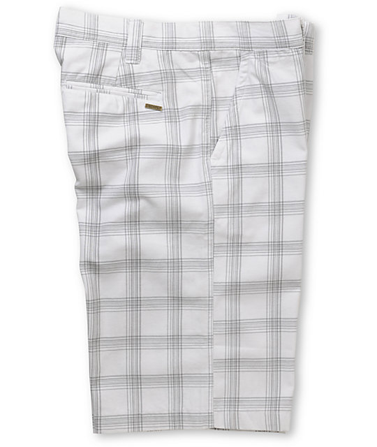 Free World Flossy White Plaid Shorts