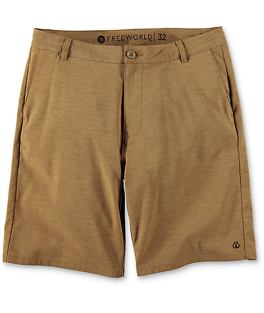 Free World Glassy Heather Tobacco Stretch Hybrid Shorts