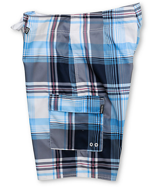 Free World Hampton Blue & Grey Plaid 21.25 Board Shorts